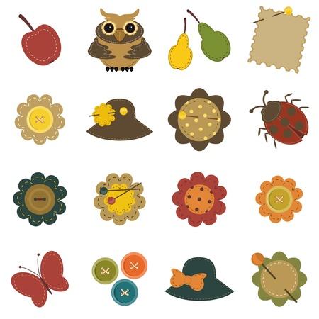 paper craft: establece con los objetos del libro de recuerdos Vectores