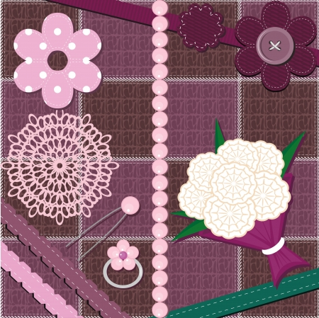 set with different scrapbook objects Vector