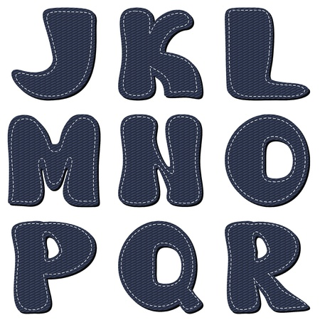 denim scrapbook alphabet part 2 Vector