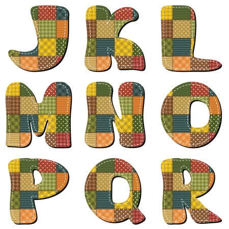 patchwork scrapbook alphabet part 2 Vector