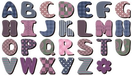 square detail: alfabeto diferente scrapbook textil en el fondo blanco