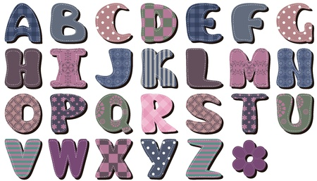 quilting: different textile scrapbook alphabet on white background