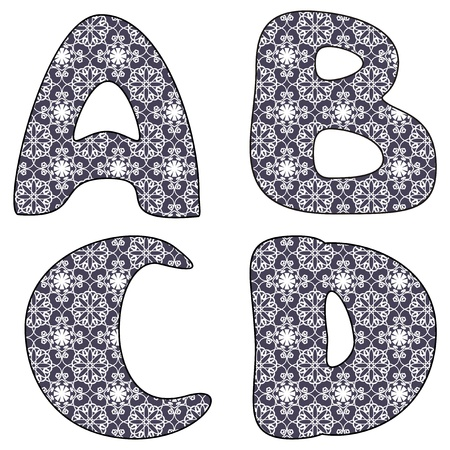 scrapbook lace alphabet letters Vector