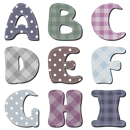 different textile scrapbook alphabet part 1