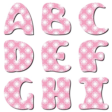 scrapbook lace alphabet letters part 1 Vector