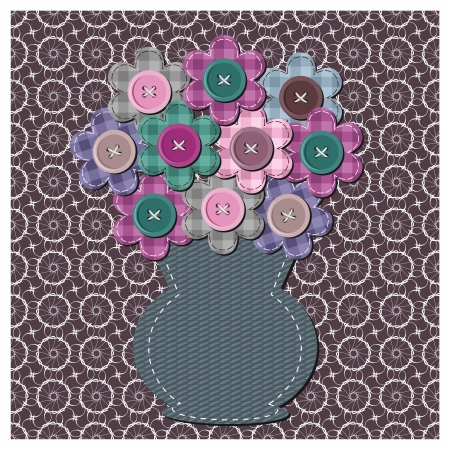 scrapbook vase with flowers Vector