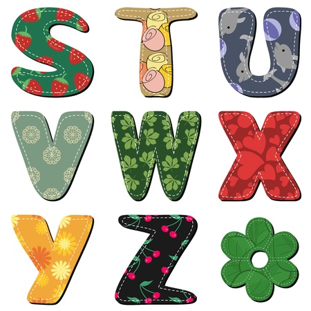 textile scrapbook alphabet on white background part 3 Vector