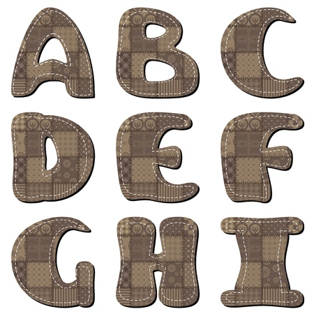 textile scrapbook alphabet on white background part 1 Vector