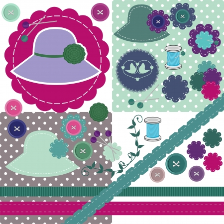 scrapbook set of objects on white Vector