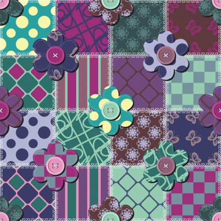 patchwork background with flowers and buttons Stock Vector - 15983385