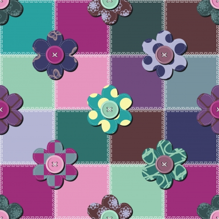 patchwork background with flowers and buttons Stock Vector - 15983380