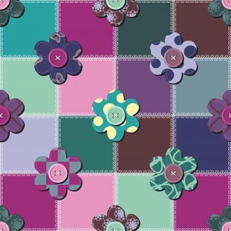 lavoro manuale: patchwork sfondo con fiori e bottoni