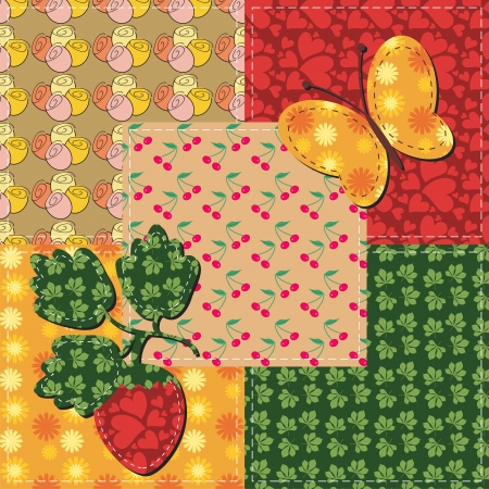 patchwork and scrapbook illustration Vector