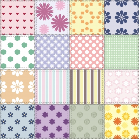 patchwork background with different patterns Stock Vector - 15983402