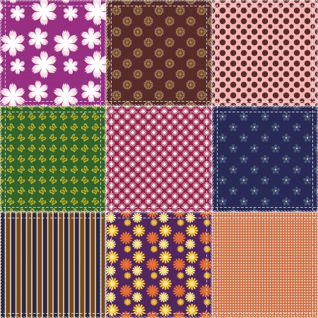 patchwork background with different patterns Stock Vector - 15983426