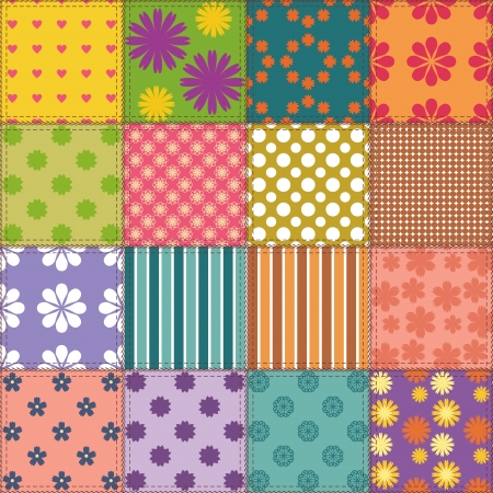 patchwork background with different patterns Stock Vector - 15983419