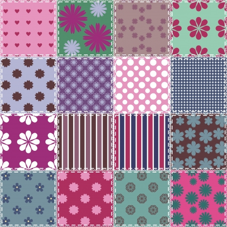patchwork background with different patterns Stock Vector - 15983418
