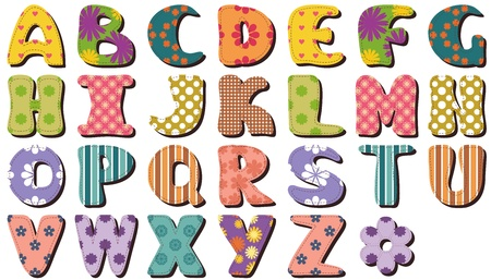 different textile scrapbook alphabet on white background Vector