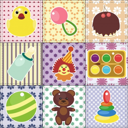 scrapbook objects for baby on patchwork background Stock Vector - 15983524