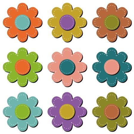 lavoro manuale: fiore scrapbook su sfondo bianco