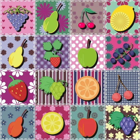 fruits and berries on patchwork background Vector