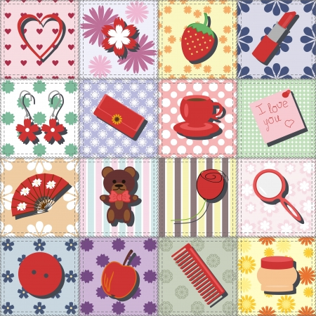 set with lady objects on patchwork background Vector