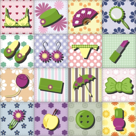 patchwork: lady objects on patchwork background