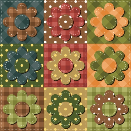 needlework: patchwork background with flowers Illustration