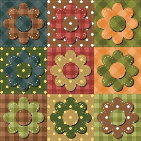 needlework: sfondo patchwork con i fiori