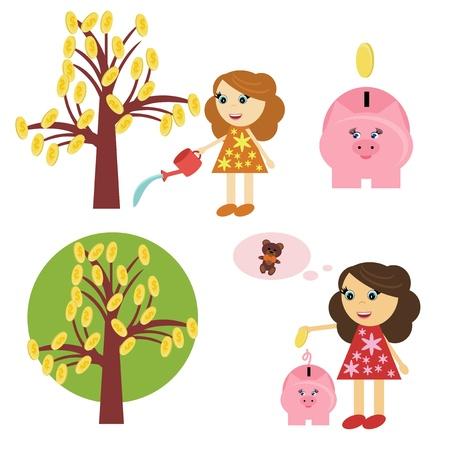 money tree, girl and piggy bank Illustration
