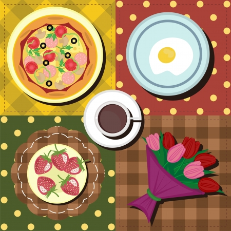 breakfast set with coffe, eggs and pizza Vector