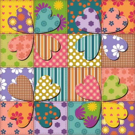patchwork background with different patterns Stock Vector - 15983513