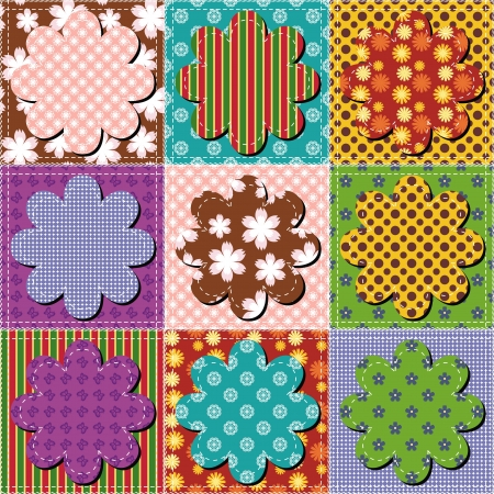 patchwork: patchwork background with flowers Stock Photo