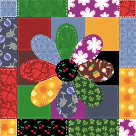 patchwork quilt: patchwork background with different patterns