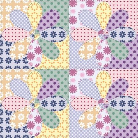 square detail: mosaico de fondo con diferentes patrones Vectores