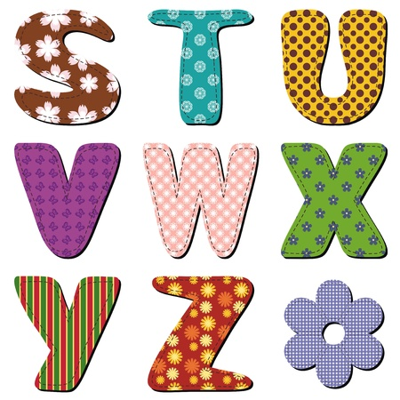 patchwork scrapbook alphabet part 3 Vector