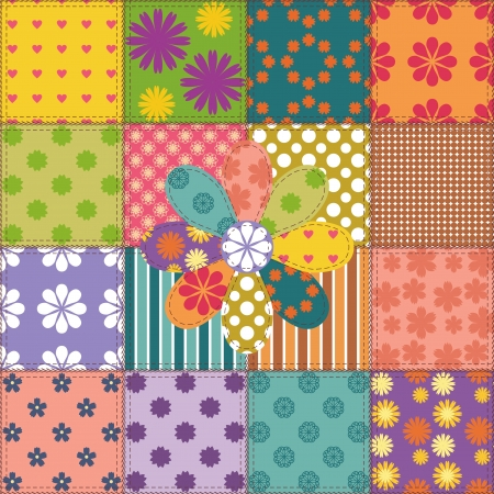 patchwork background with different patterns Stock Vector - 15983567