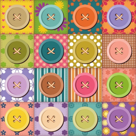 patchwork quilt: patchwork pattern with buttons Illustration