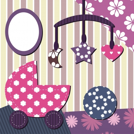 cradle: baby room scrapbook style Illustration