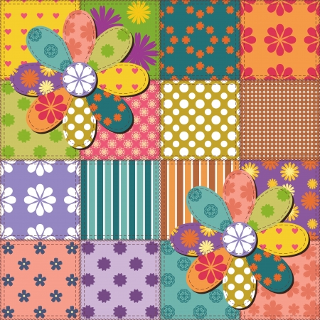 patchwork background with different patterns Stock Vector - 15983574