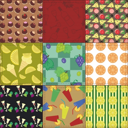 handiwork: patchwork background with food and drinks