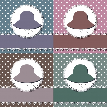 four decor backgrounds with lady in hat Vector
