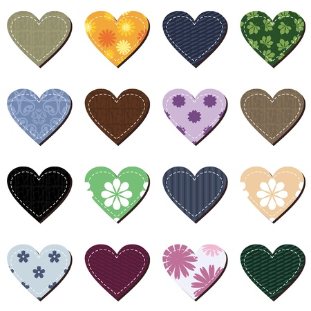 scrapbook hearts on white background Vector
