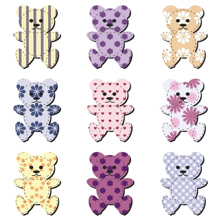 cute teddy bear: nice scrapbook teddy bears on white Illustration