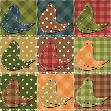patchwork background with pigeons
