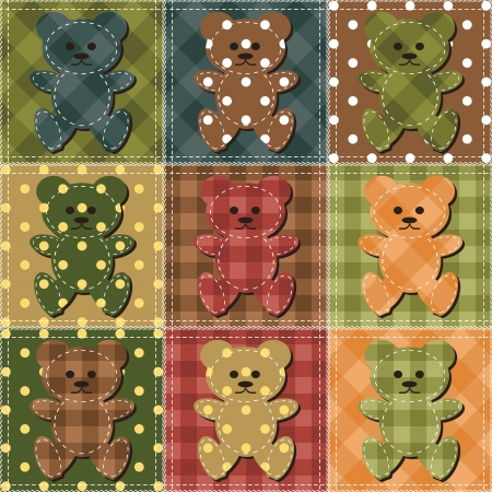 needlework: patchwork background with teddy bears Illustration