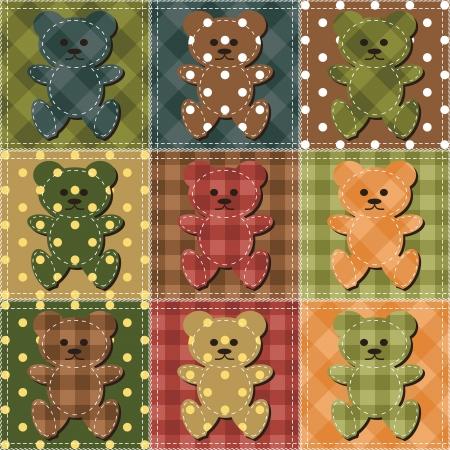 needlework: sfondo patchwork con gli orsi di peluche