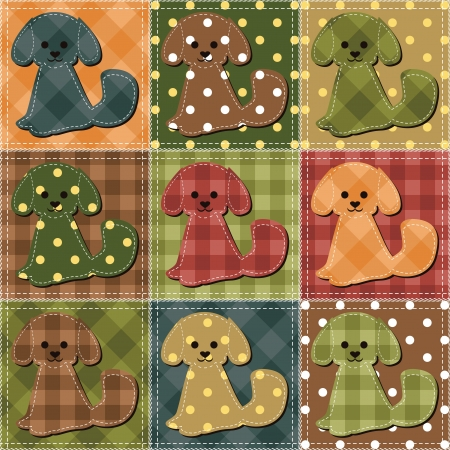 strip a dog: patchwork background with dogs