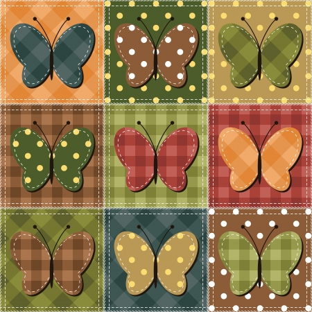 patchwork background with butterflies Vector