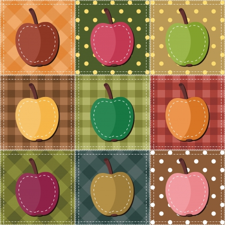 patchwork: patchwork background with apples Illustration
